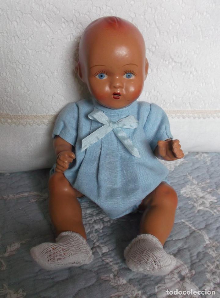 Muñeca española clasica: raro bebé español de piedra tamaño grande 23 cm, vestido original - Foto 2 - 138032962