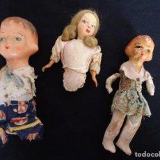 Muñeca española clasica: LOTE DE TRES MUÑECAS PARA RESTAURAR O COMPLETAR. Lote 140004954