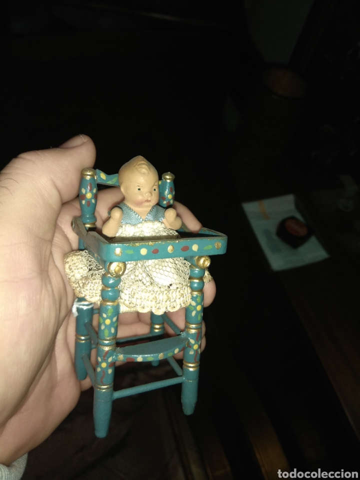 Muñeca española clasica: Preciosa Muñeca Bebé de Terracota en Trona de Madera - Foto 4 - 140163081