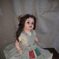 Muñeca española clasica: ANTIGUA MUÑECA DE CARTON PIEDRA PELO NATURAL,OJOS DE CRISTAL. Lote 140221814