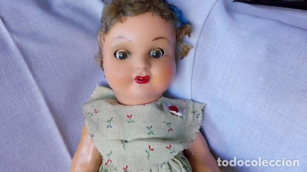 Muñeca española clasica: ANTIGUA MUÑECA DE CARTÓN PIEDRA , OJOS DURMIENTES, VESTIDO ORIGINAL - Foto 3 - 143976994