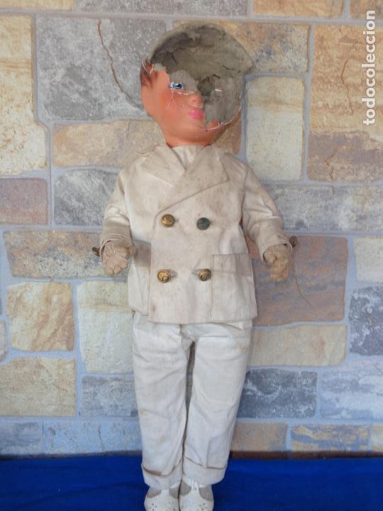 Muñeca española clasica: ANTIGUA MUÑECA DE CARTON PIEDRA AÑOS 40/50, PARA PIEZAS O RESTAURAR VER FOTOS Y DESCRIPCION! SM - Foto 2 - 144802638