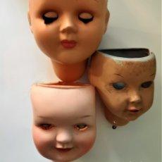 Muñeca española clasica: LOTE DE TRES CABEZAS DE CELULOIDE ,CAYETANA ,ATHENA ,ETC..(PARA RESTAURADORES). Lote 146909942