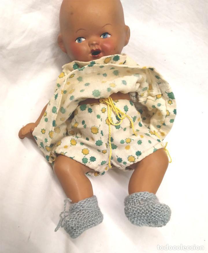 Muñeca española clasica: Bebé Articulado años 30 sello SV espalda, terracota policromada a mano. Med. 18 cm - Foto 2 - 147145882
