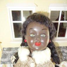 Muñeca española clasica: ANTIGUA MUÑECA NEGRA NEGRITA AÑOS 50 EN CELULOIDE Y CARTÓN PIEDRA. Lote 147480074