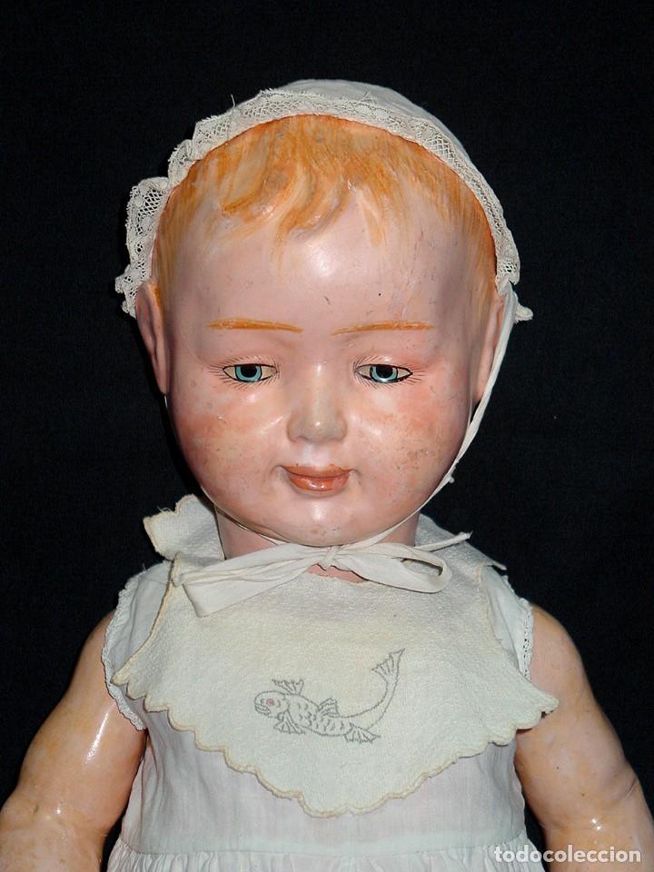 Klassische spanische Puppen: GRAN PEPON DE CARTON PIEDRA CATALÁN O VALENCIANO CON BABERO, GORRO, FALDÓN Y PANTALÓN. PPIO 1900 - Foto 3 - 150443726