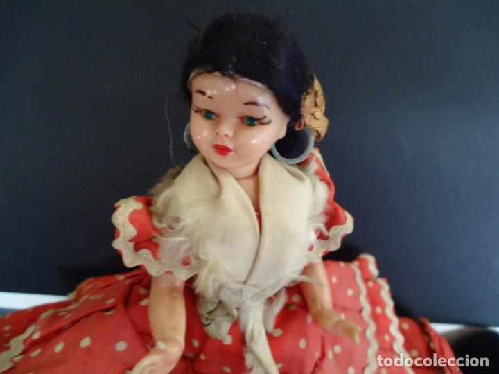 Muñeca española clasica: ANTIGUA MUÑECA DE PLASTICO DURO Y OJOS DURMIENTES VESTIDA DE FLAMENCA - Foto 6 - 150738450