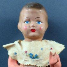 Muñeca española clasica: PEPONA MUÑECA CARTÓN PIEDRA ARTICULADO ROPA ORIGINAL LLORO AÑOS 40 38 CM ALTO. Lote 151116238
