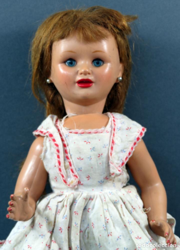 Muñeca española clasica: Muñeca celuloide ojo durmiente peluca vestido original años 50 38 cm - Foto 2 - 151117238