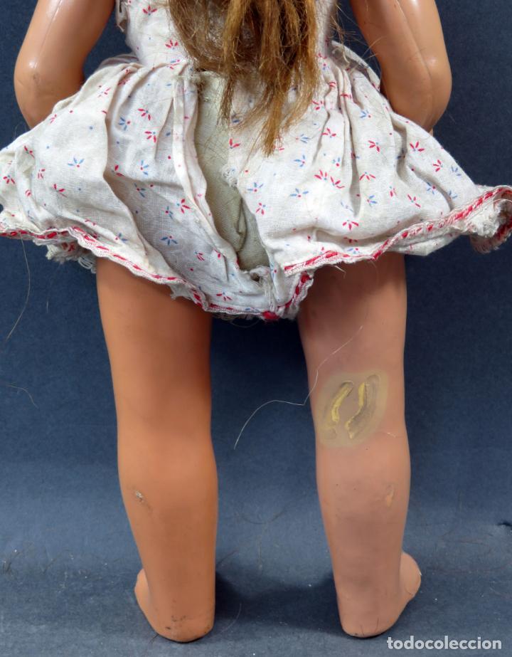 Muñeca española clasica: Muñeca celuloide ojo durmiente peluca vestido original años 50 38 cm - Foto 6 - 151117238