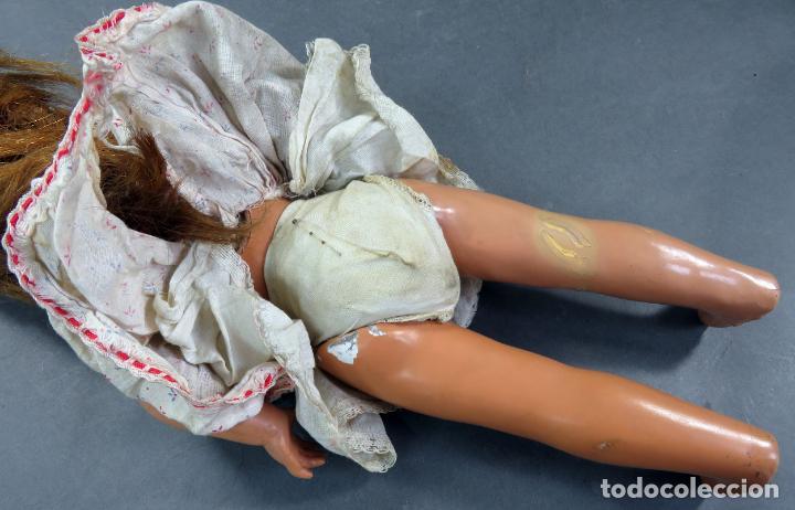Muñeca española clasica: Muñeca celuloide ojo durmiente peluca vestido original años 50 38 cm - Foto 11 - 151117238