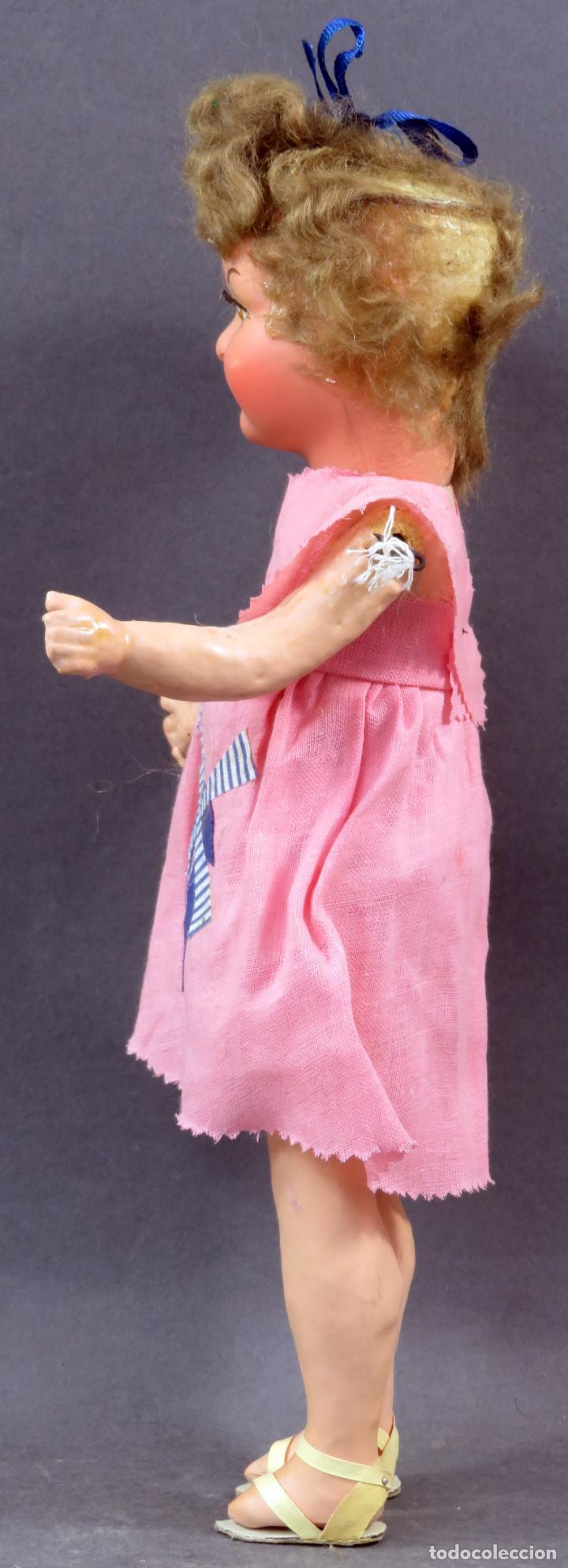 Muñeca española clasica: Muñeca popular cabeza cerámica cuerpo cartón piedra articulada ropa original años 30 - 40 30 cm - Foto 3 - 151812174