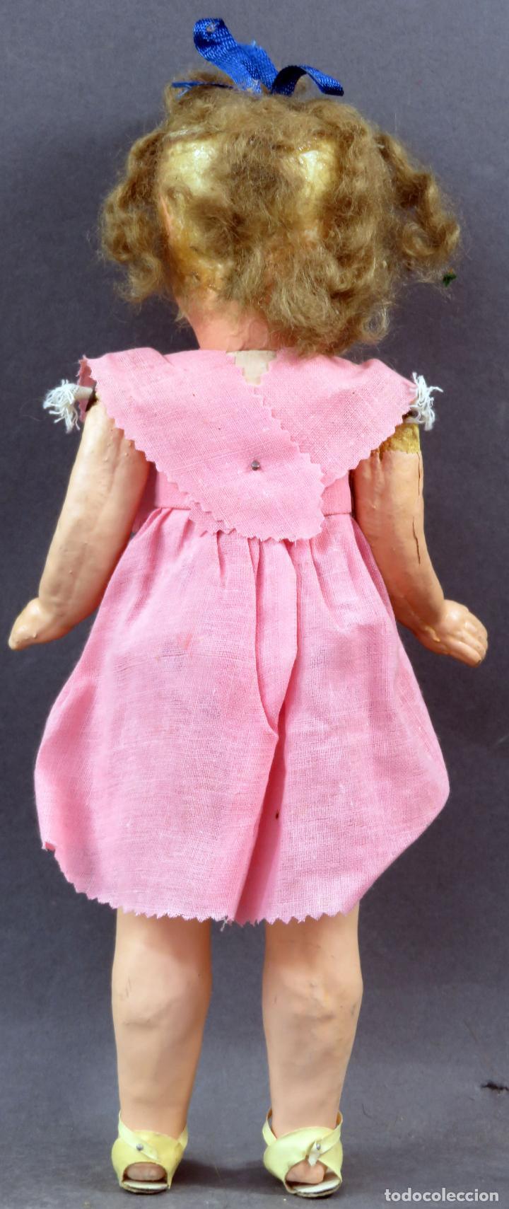 Muñeca española clasica: Muñeca popular cabeza cerámica cuerpo cartón piedra articulada ropa original años 30 - 40 30 cm - Foto 4 - 151812174