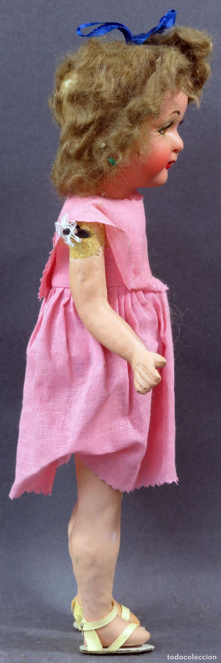 Muñeca española clasica: Muñeca popular cabeza cerámica cuerpo cartón piedra articulada ropa original años 30 - 40 30 cm - Foto 6 - 151812174