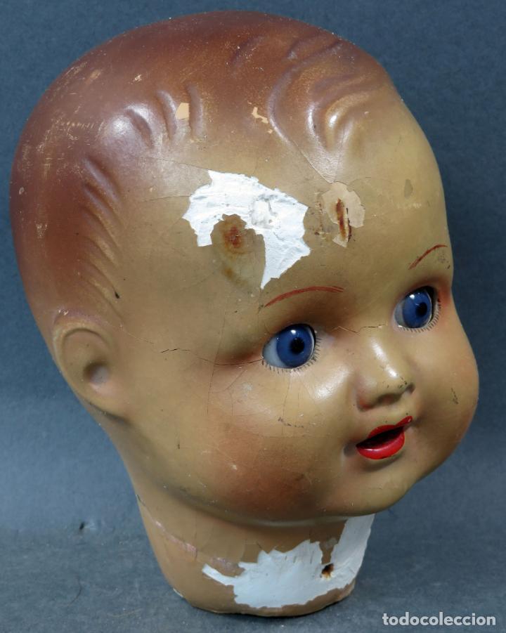 Muñeca española clasica: Cabeza Bebé cartón piedra ojo cristal marca nuca años 40 - 50 para restaurar - Foto 2 - 151827534