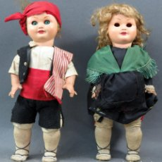 Muñeca española clasica: PAREJA MUÑECOS REGIONALES ARAGÓN BATURROS CABEZA CELULOIDE CUERPO PLÁSTICO FINALES 50. Lote 151958126