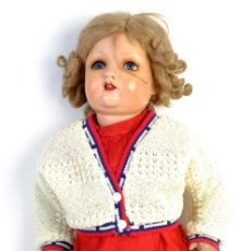 Muñeca española clasica: MUÑECA ESPAÑOLA EN CARTÓN PIEDRA OJOS DORMILONES DE 58 CM AÑOS 40. Lote 152438822