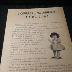 Muñeca española clasica: FOLLETO DE MUÑECA.. TERESIN... Lote 153725612