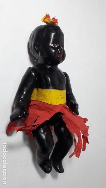 Muñeca española clasica: Antigua muñeca negra negrita española de cartón 22 cmts totalmente original - Foto 3 - 160342674