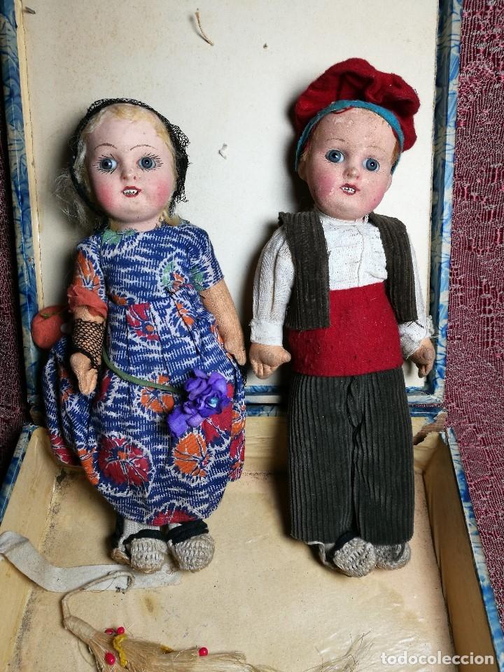 Muñeca española clasica: Pareja de catalanes..muñeco y muñeca de trapo. Pages, Lenci, Lency c. 1920-40 cataluña -ojos cristal - Foto 3 - 160702362