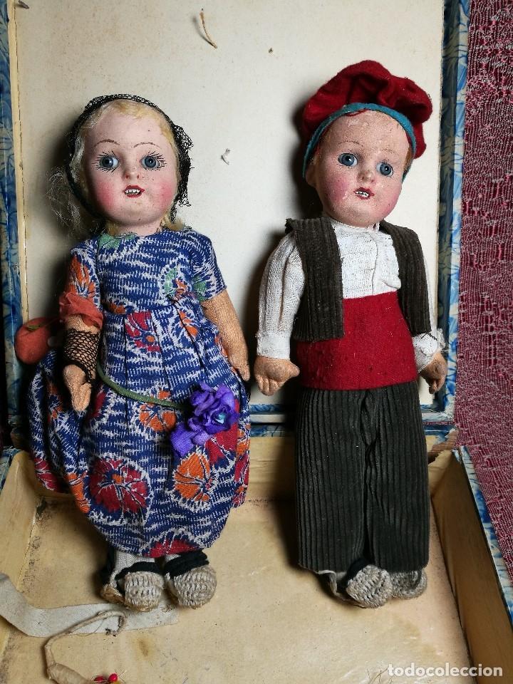 Muñeca española clasica: Pareja de catalanes..muñeco y muñeca de trapo. Pages, Lenci, Lency c. 1920-40 cataluña -ojos cristal - Foto 5 - 160702362