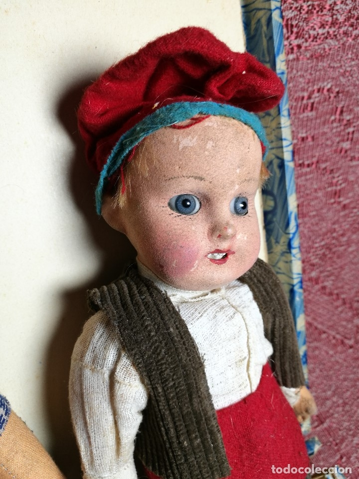 Muñeca española clasica: Pareja de catalanes..muñeco y muñeca de trapo. Pages, Lenci, Lency c. 1920-40 cataluña -ojos cristal - Foto 10 - 160702362