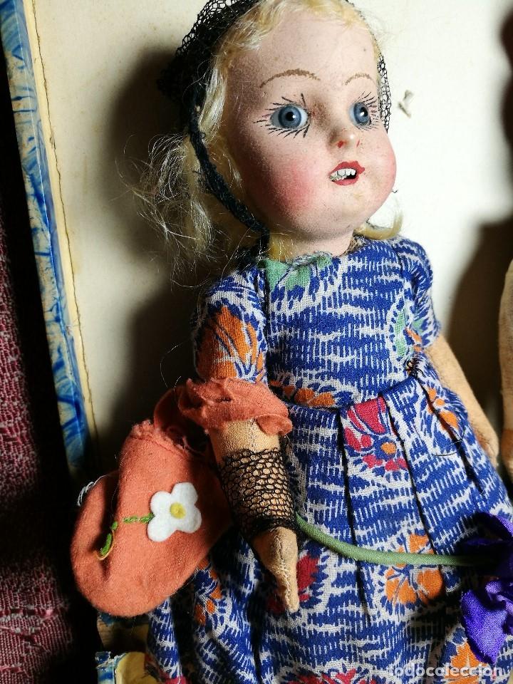 Muñeca española clasica: Pareja de catalanes..muñeco y muñeca de trapo. Pages, Lenci, Lency c. 1920-40 cataluña -ojos cristal - Foto 15 - 160702362