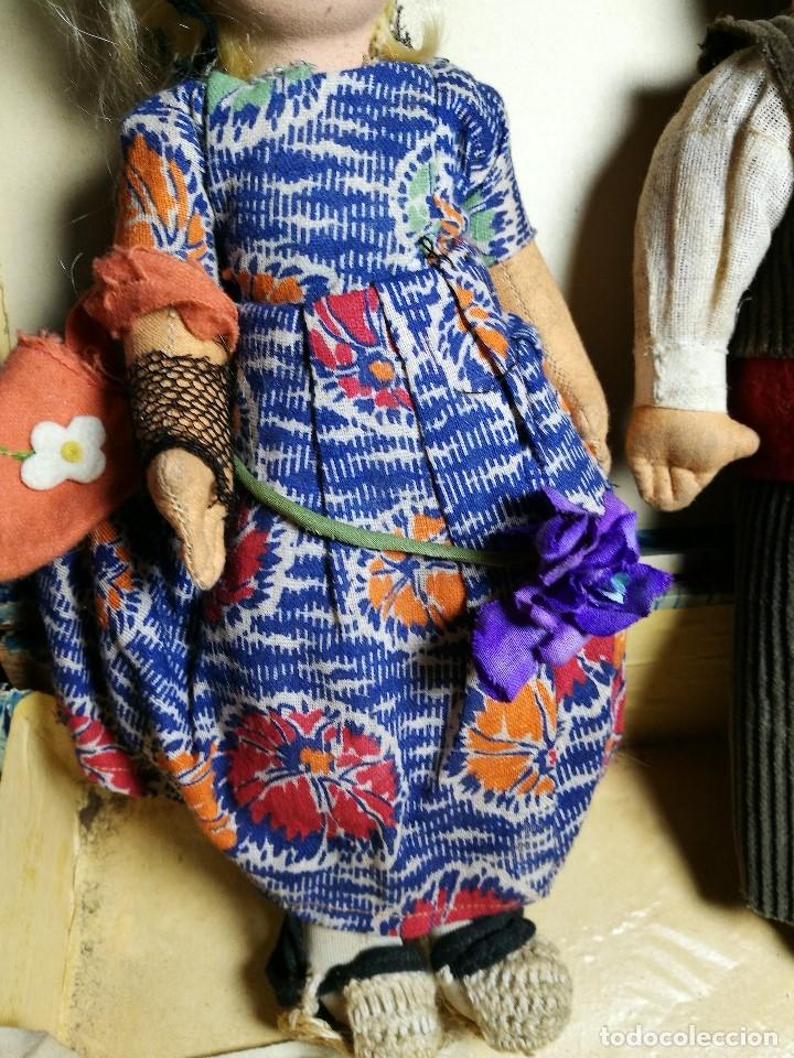 Muñeca española clasica: Pareja de catalanes..muñeco y muñeca de trapo. Pages, Lenci, Lency c. 1920-40 cataluña -ojos cristal - Foto 16 - 160702362