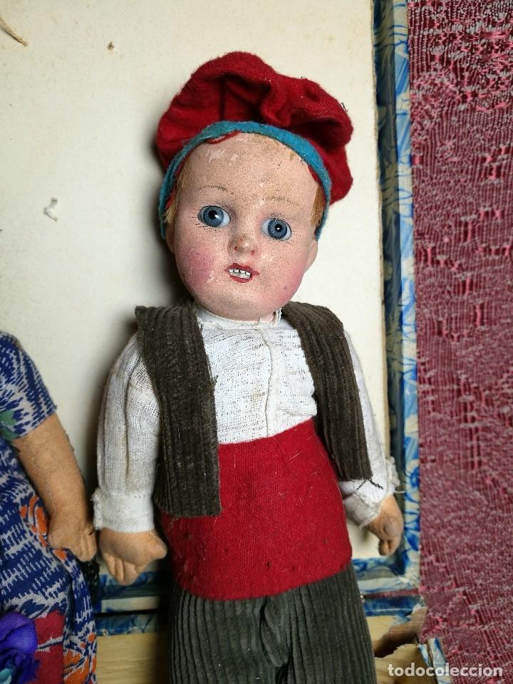 Muñeca española clasica: Pareja de catalanes..muñeco y muñeca de trapo. Pages, Lenci, Lency c. 1920-40 cataluña -ojos cristal - Foto 18 - 160702362