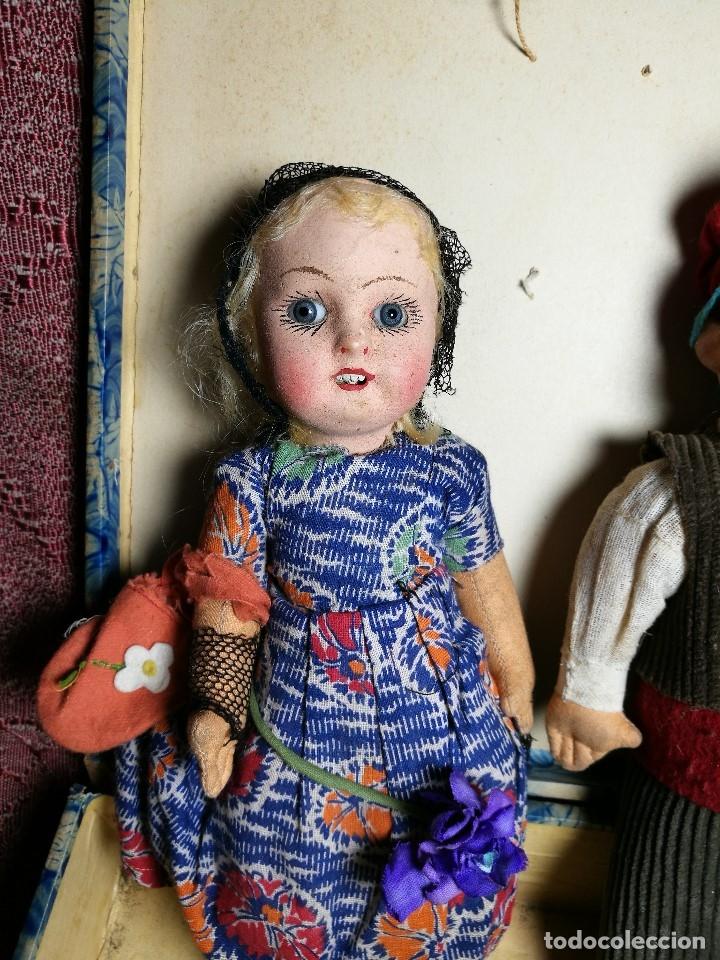 Muñeca española clasica: Pareja de catalanes..muñeco y muñeca de trapo. Pages, Lenci, Lency c. 1920-40 cataluña -ojos cristal - Foto 19 - 160702362