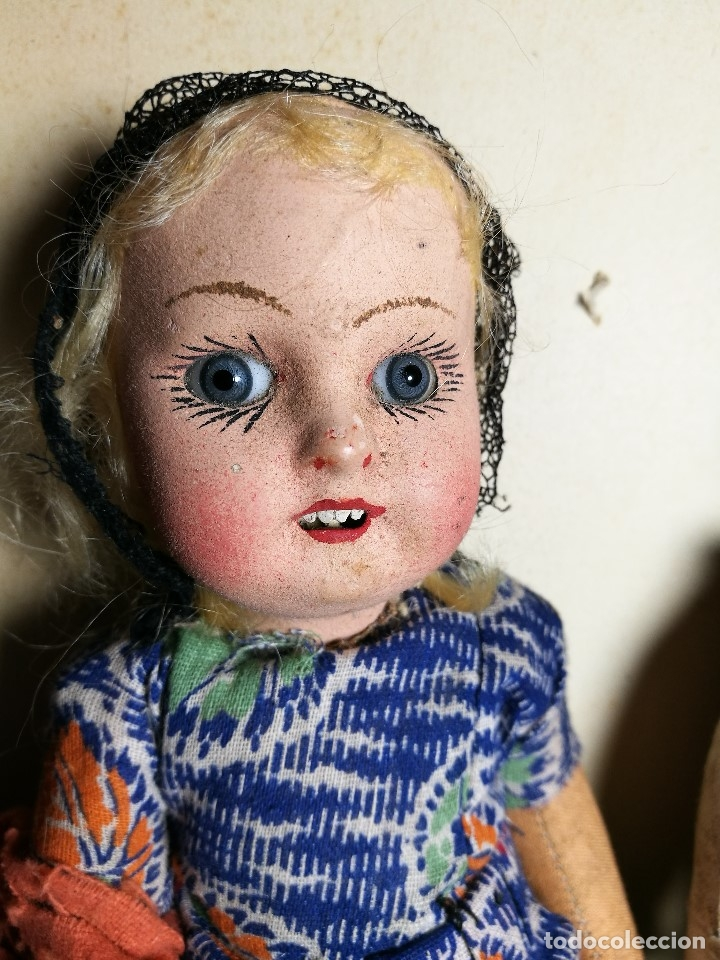 Muñeca española clasica: Pareja de catalanes..muñeco y muñeca de trapo. Pages, Lenci, Lency c. 1920-40 cataluña -ojos cristal - Foto 20 - 160702362