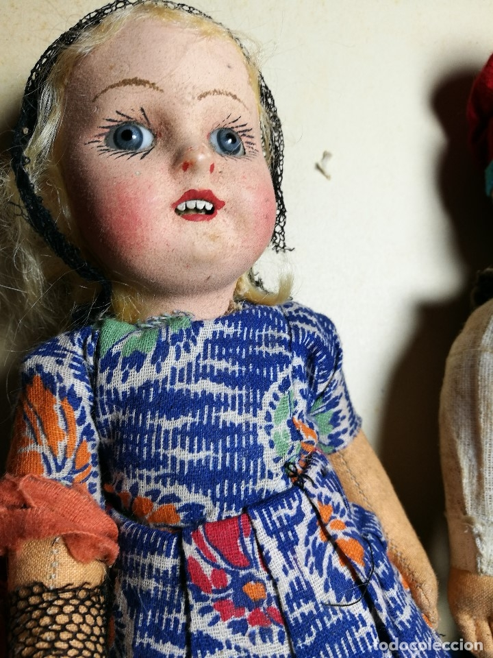 Muñeca española clasica: Pareja de catalanes..muñeco y muñeca de trapo. Pages, Lenci, Lency c. 1920-40 cataluña -ojos cristal - Foto 22 - 160702362