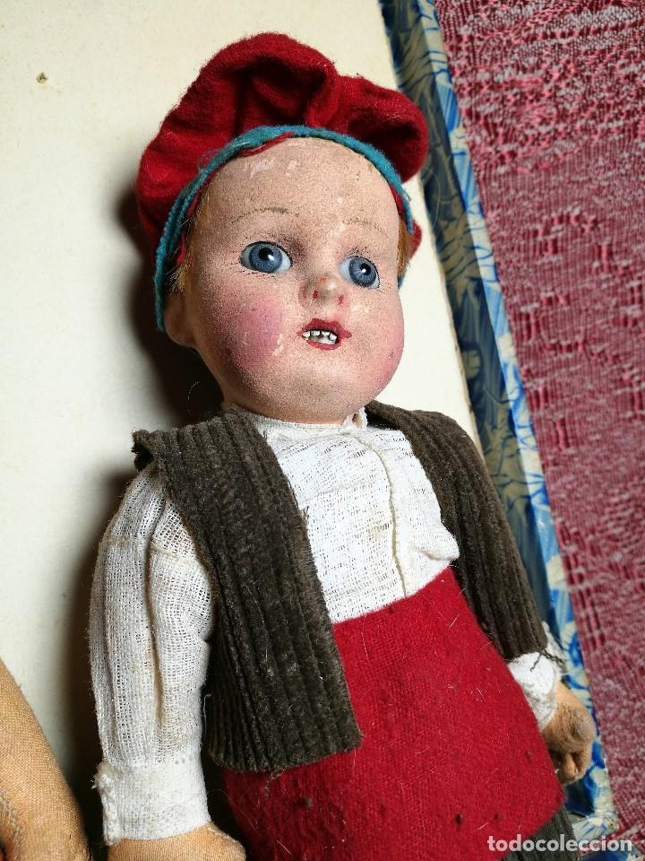 Muñeca española clasica: Pareja de catalanes..muñeco y muñeca de trapo. Pages, Lenci, Lency c. 1920-40 cataluña -ojos cristal - Foto 23 - 160702362