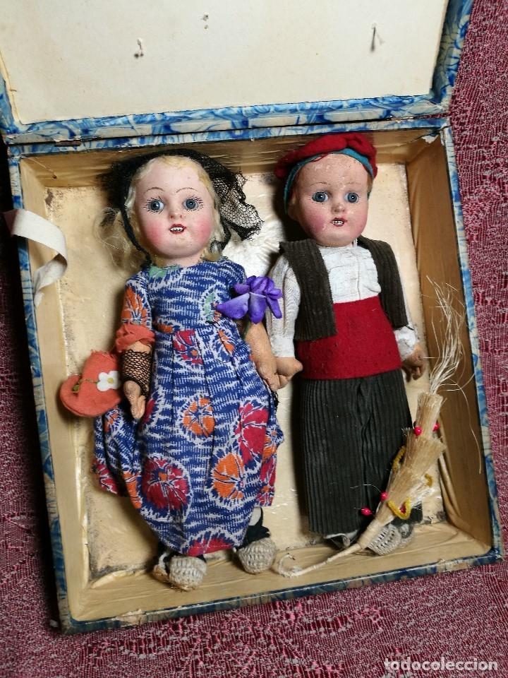 Muñeca española clasica: Pareja de catalanes..muñeco y muñeca de trapo. Pages, Lenci, Lency c. 1920-40 cataluña -ojos cristal - Foto 60 - 160702362
