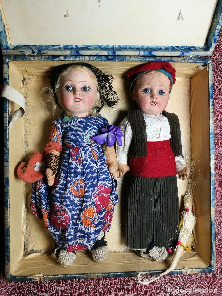 Muñeca española clasica: Pareja de catalanes..muñeco y muñeca de trapo. Pages, Lenci, Lency c. 1920-40 cataluña -ojos cristal - Foto 62 - 160702362