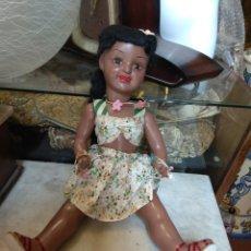 Muñeca española clasica: ANTIGUA MUÑECA NEGRA - NEGRITA - CARTÓN PIEDRA -. Lote 160989537