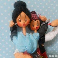 Muñeca española clasica: MUÑECA MUÑECO DE FIELTRO PAREJA BAILADORES AÑOS 40-50 ARAGON ARAGONESES ?. Lote 177276999