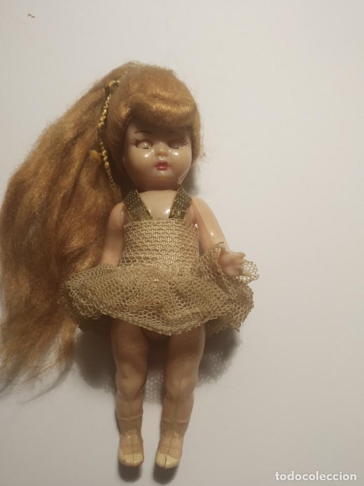 Muñeca española clasica: Preciosa muñeca de celuloide, ojos durmientes vestida de bailarina/pequeñita. - Foto 9 - 179115568