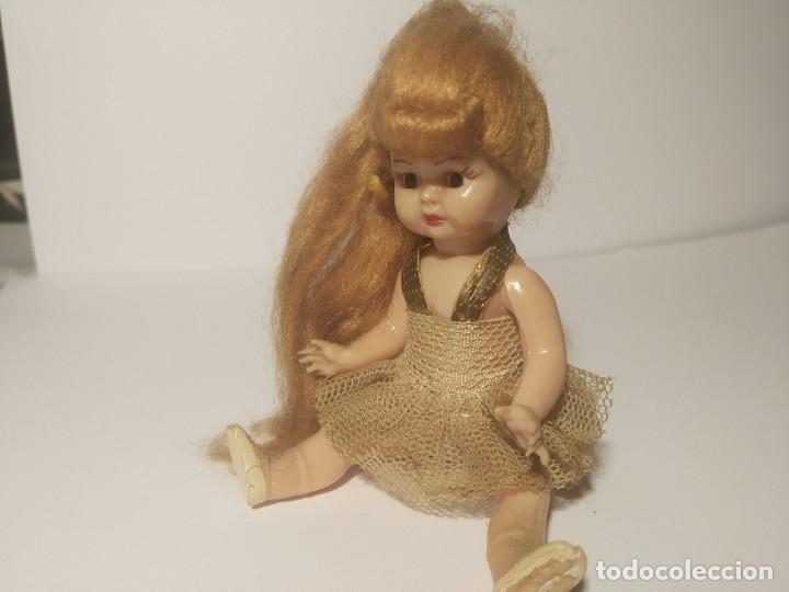 Muñeca española clasica: Preciosa muñeca de celuloide, ojos durmientes vestida de bailarina/pequeñita. - Foto 11 - 179115568
