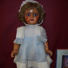 Muñeca española clasica: MAGNIFICA ANTIGUA GRAN MUÑECA CARTON PIEDRA OJOS DE CRISTAL DURMIENTES.PELO NATURAL. Lote 180391511