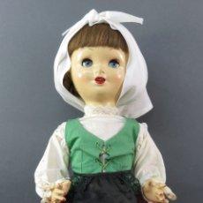 Muñeca española clasica: PALOMITA MADRID FLORIDO MUÑECA CARTÓN PIEDRA OJO DURMIENTE TRAJE REGIONAL ASTURIANA MARIQUITA 45 CM. Lote 180943577