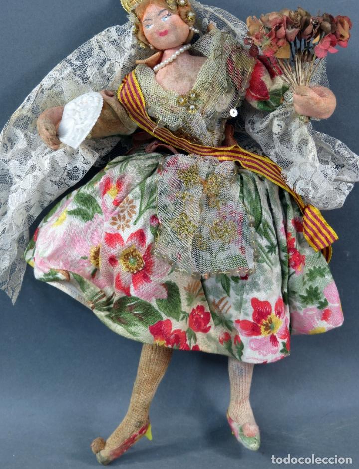 Muñeca española clasica: Muñeca trapo valenciana fallera Kumple Roldan Layna Valencia años 50 30 cm alto - Foto 3 - 181492781