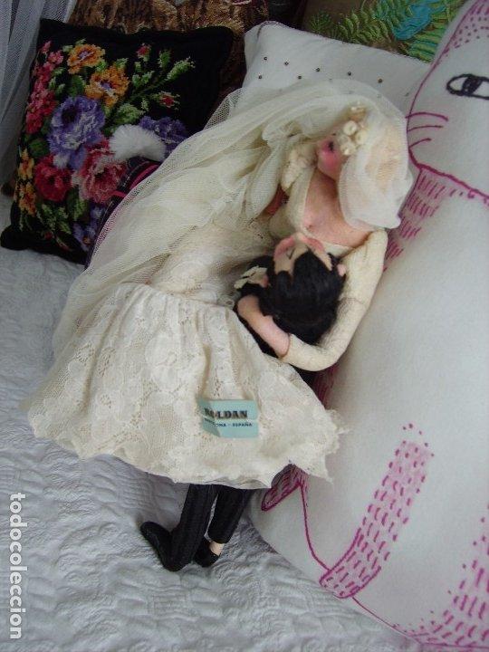 Muñeca española clasica: Antigua pareja de novios de ROLDAN, años 40/50, con ETIQUETA - Foto 2 - 182427030