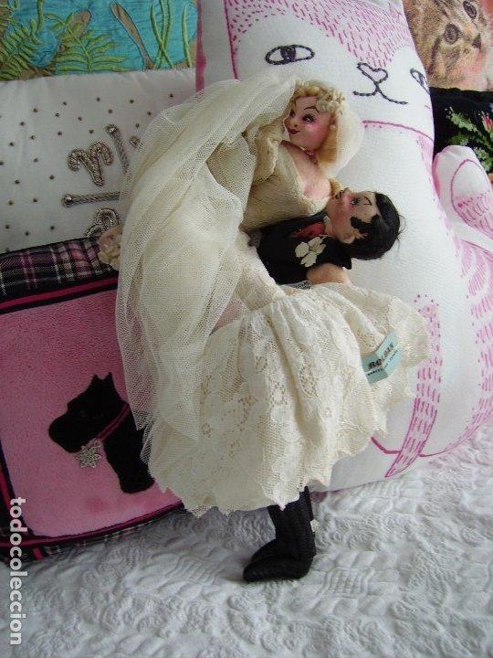 Muñeca española clasica: Antigua pareja de novios de ROLDAN, años 40/50, con ETIQUETA - Foto 3 - 182427030