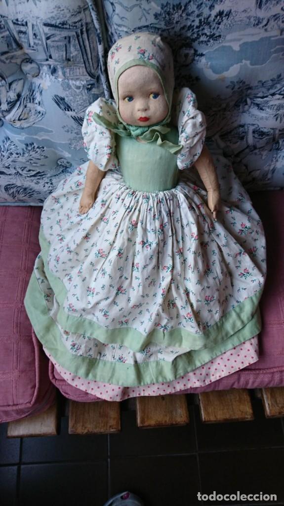 Muñeca española clasica: Antigua muñeca española de trapo doble por un lado blanca y por el otro negra, años 40 - Foto 2 - 182530373