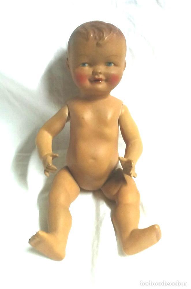 Muñeca española clasica: Niño Bebé Francisco Valls años 30 Estuco policromado textura porcelana, sello espalda. Med. 23 cm - Foto 2 - 183469790