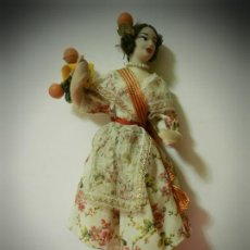Muñeca española clasica: MUÑECA ANTIGUA VALENCIANA. TRAPO, INTERIOR DE ALAMBRE. CABEZA CELULOIDE.FALLERA.POSIBLEMENTE LAYNA. Lote 189162565