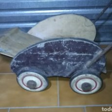 Muñeca española clasica: ANTIGUO COCHECITO MADERA MUÑECA PARA RESTAURAR. Lote 190833552