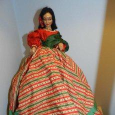 Muñeca española clasica: MUÑECA DE LA CASA MARIN AÑOS 40, CON TRAJE TÍPICO REALIZADA EN CARTÓN PIEDRA PINTADA AL DUCO, CABEL. Lote 191619150