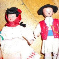 Muñeca española clasica: PAREJA MUÑECOS DE TERRACOTA AÑOS 40. CANARIOS. Lote 193279762
